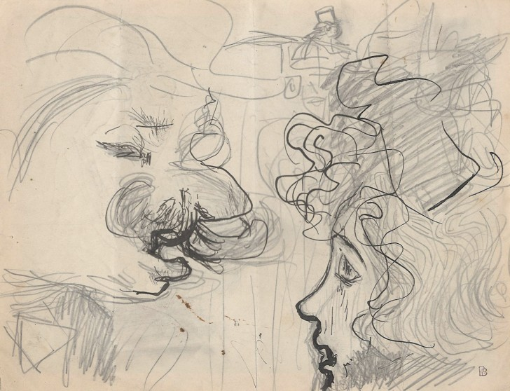 "Pierre Bonnard, Study for ""Conversation"", c. 1893, pencil, pen, and ink on paper, 6 1/8""× 8""; Image courtesy: Jill Newhouse Gallery"