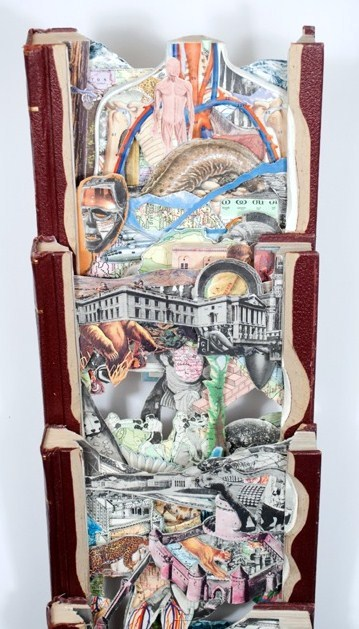 """(detail) Brian Dettmer, New Standards, 2015, hardcover books, acrylic varnish, 73.5"""" x 7"""" x 4""""; included in the Art on Paper fair. Image courtesy: JHB Gallery"""