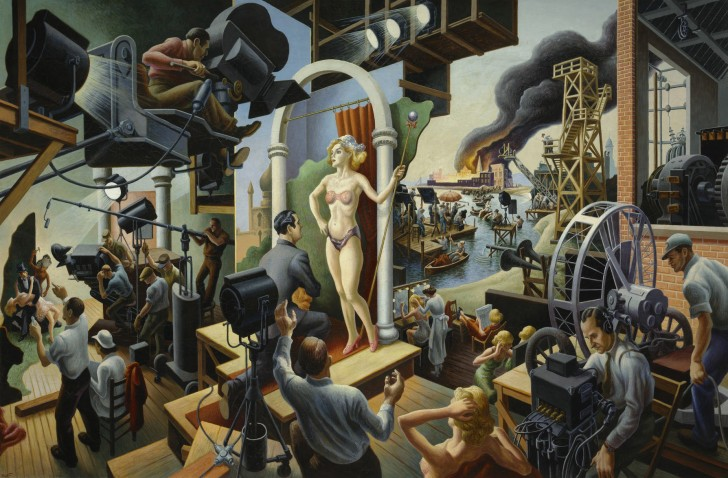 "Thomas Hart Benton, Hollywood, 1937-38, tempra with oil on canvas, mounted on board, 56"" x 84"". Included in the exhibit, American Epics: Thomas Hart Benton and Hollywood. Image source: Peabody Essex Museum"