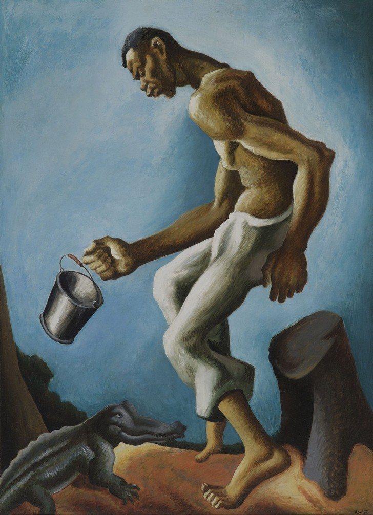 "Thomas Hart Benton, Negro and Alligator, 1927, oil on canvas, 45 1/2"" x 33"". Included in the exhibition, American Epics: Thomas Hart Benton and Hollywood. Image source: Peabody Essex Museum"