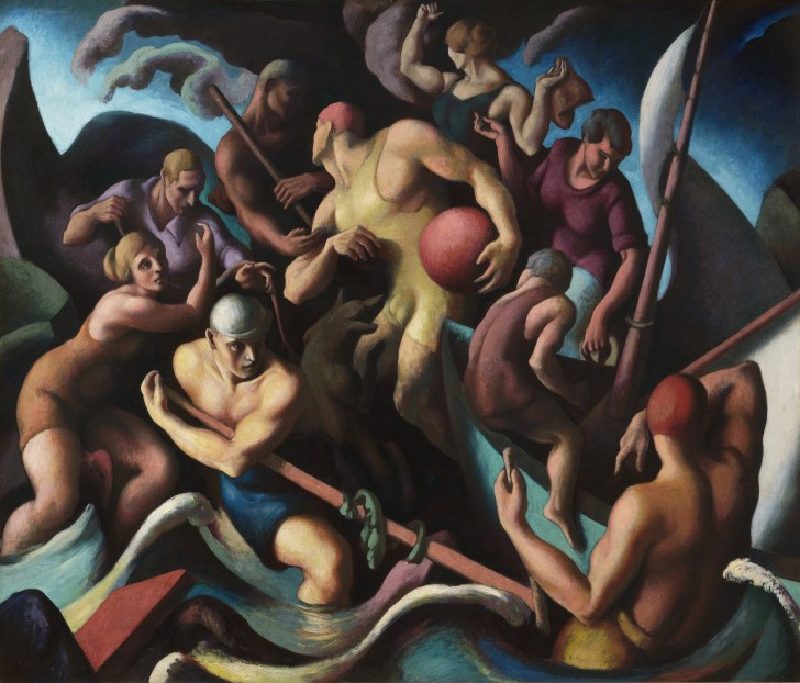 "Thomas Hart Benton, People of Chilmark, 1920, oil on canvas, 65 5/8"" x 77 5/8"". Included in the exhibit, American Epics: Thomas Hart Benton and Hollywood. Image source: Peabody Essex Museum"