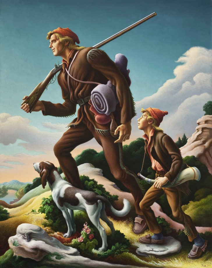 "Thomas Hart Benton, The Kentuckian, 1954, oil on canvas, 76 1/8"" x 60 3/8"". Included in the exhibit, American Epics: Thomas Hart Benton and Hollywood. Image source: Peabody Essex Museum"