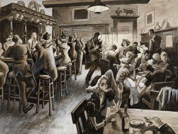 Thomas Hart Benton, Thursday Night at the Cock-and-Bull. It's the Maid's Night Out, 1937.