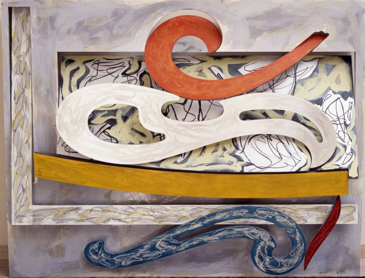 Frank Stella, Eskimo Curlew, 1976, litho crayon, etching, lacquer, ink, glass, acrylic paint, oil stick on aluminum, 98 3/4 x 127 x 18 inches. Included in Frank Stella: A Retrospective, Whitney Museum of  American Art. Image source: Whitney.org