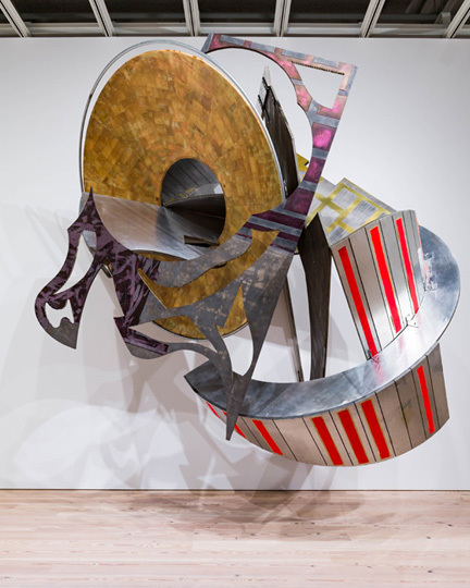 Frank Stella, St. Michael's Counterguard, 1984, mixed media on aluminum and fiberglass honeycomb, 156 x 135 x 108 inches. Installation view, Frank Stella: A Retrospective, Whitney Museum of  American Art. Photo: Ronald Amstutz