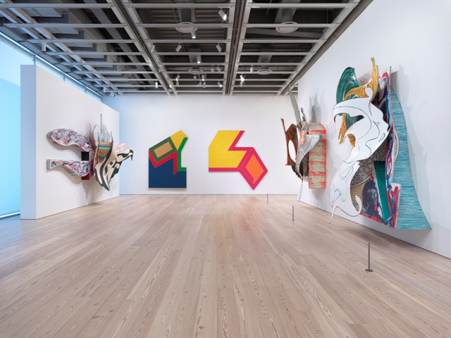 Installation view, Frank Stella: A Retrospective, Whitney Museum of  American Art. Left to right: The Blanket, 1988; Moultonville II, 1966; Effingham II, 1966; Fedallah, 1988; The Whiteness of the Whale, 1988. Photo: Ronald Amstutz
