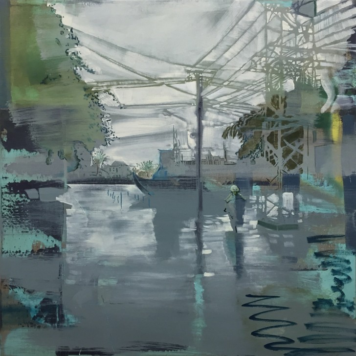 "Andrew Fish, Hoi An Flooded, 2016, oil on linen, 32"" x 32""; Included in the ""Infrastructure"" exhibit, Addison/Ripley Fine Art, Washington, DC, Sept.10th--Oct.15th."