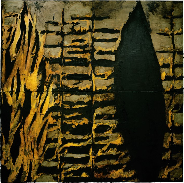 Donald Sultan, 1984, Forest Fire Jan 5 1984, latex and tar on tile over Masonite, 96 x 96 inches. Private collection, New York; on long-term loan to the Cleveland Museum of Art. Included in the exhibition, Donald Sultan: The Disaster Paintings. ©Donald Sultan