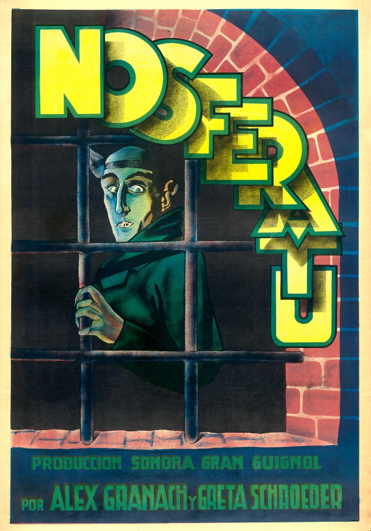 Nosferatu, about 1931, produced by Prana Film, Germany, printed in Spain, lithograph, 42 1/4 x 29 1/8 inches. Courtesy of the Kirk Hammett Horror and Sci-Fi Memorabilia Collection.