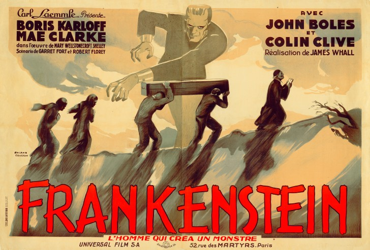 Roland Coudon, Frankenstein, about 1931, produced by Universal Pictures, printed by Etabts Delattre, France, lithograph, 63 × 94 inches. The Kirk Hammett Horror and Sci-Fi Memorabilia Collection. Courtesy of Universal Studios Licensing, LLC.